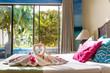 towel decoration in hotel room, towel birds, swans, room interio - 79474564