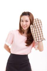 woman baker wearing mitten glove for baking concept studio shot