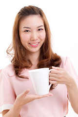 female bartender, barista holding coffee cup