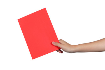 Woman hand holding big red envelope on white background.