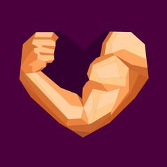 Polygonal bodybuilder's bicep in heart shape
