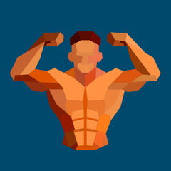 Polygonal colored vector bodybuilder logo.