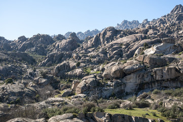 Granite boulders in La Pedriza, Madrid, Spain