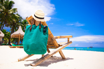 Beach wooden chair for vacations on tropical beach