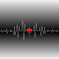 Cardiogram heart reveals life.