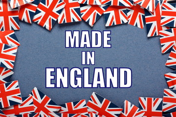 The title Made in England with a border of Union Jack Flags