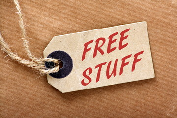 The phrase Free Stuff on luggage or price tag