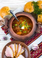 Ukrainian borsch with donuts, onion and garlic