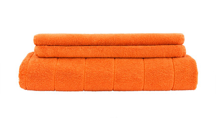 Orange towels isolated over white