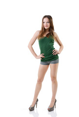 attractive happy teen girl full length portrait isolated on whit