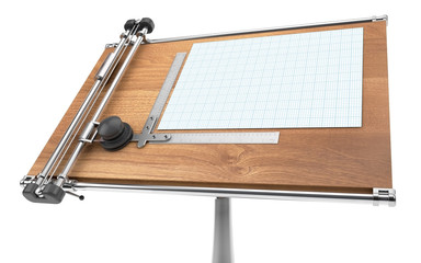 drawing table with project blueprint isolated on white with clip