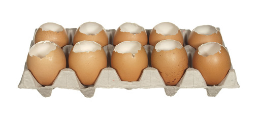 Box empty chicken eggs isolated on white background.