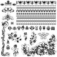 Calligraphic ornaments, borders, vignettes