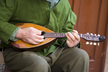 Playing mandolin