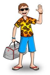 Hombre en viaje de vacaciones a la playa