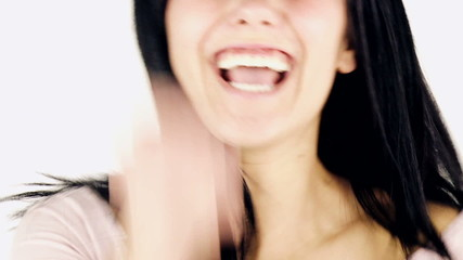 Young woman expression joy and happiness isolated closeup