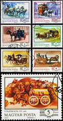 Stamps printed in the Hungary show hungarian coach
