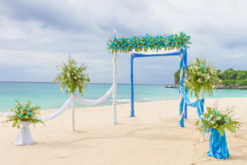 beautiful wedding arch, cabana, beach wedding, tropical wedding