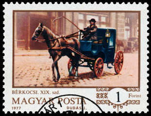 Stamp printed in the Hungary shows One-horse cab at Budapest