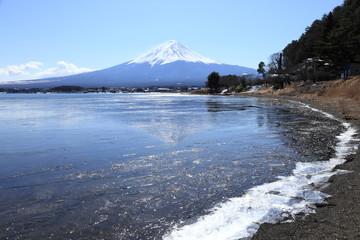 逆さ富士と冬の河口湖