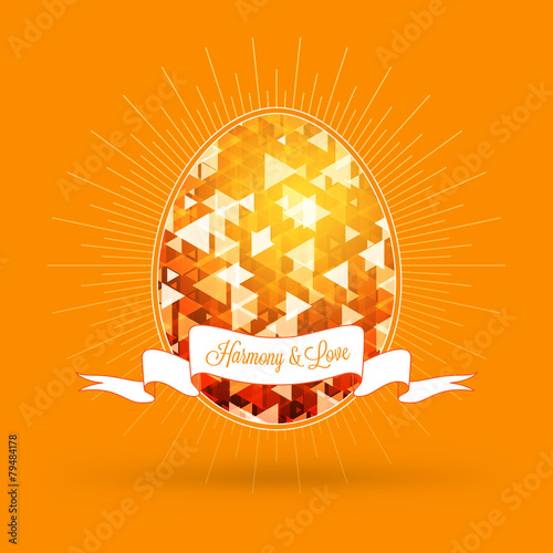 Happy Easter holiday greeting card with abstract vector egg