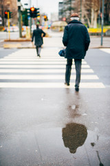 blurred city and people urban scene