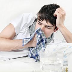 Sick Teenager with Handkerchief