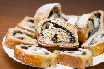 Poppy seed cake sliced rolls