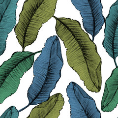 Seamless pattern with colorful banana leaves.