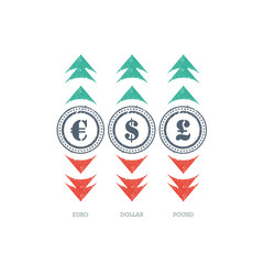 Grunge currency sign icon with green and red up and down arrows.