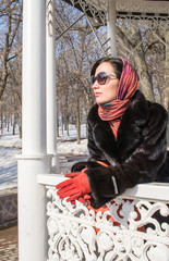 Women in Furcoat and Gloves in Winter