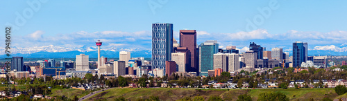 Plexiglas Canada Panorama of Calgary and Rocky Mountains
