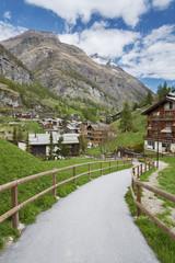 Hiking path in Zermatt, Switzerland.