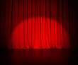 Leinwanddruck Bild - theatre red curtain or drapes background with light spot
