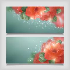 Vector Shining Flowers Roses Banner