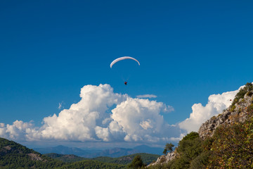 Paraglider flying over sky in summer day