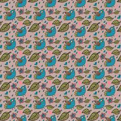 Птицы в листьях бесшовный паттерн