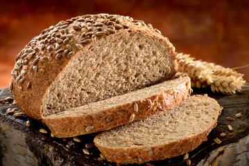 Freshly baked bread. Wholemeal  spelt bread.