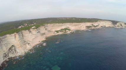 Aerial full panoramic view of old city Bonifacio area, Corsica.