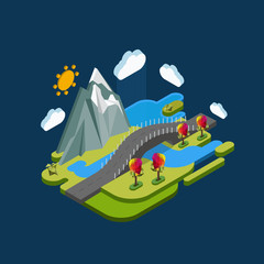Flat landscape isometric concept nature with mountains