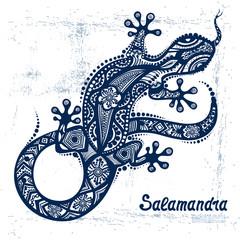 Vector drawing of a lizard or salamander