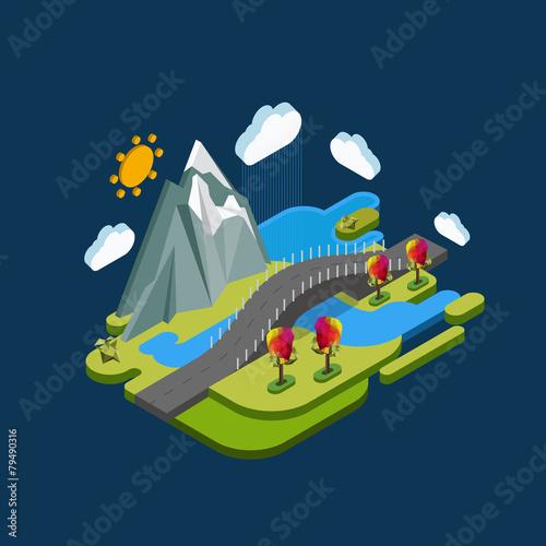 Płaska krajobrazowa isometric pojęcie natura z górami