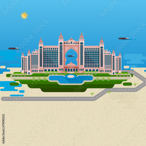 Flat design landscape. Vector image of the hotel
