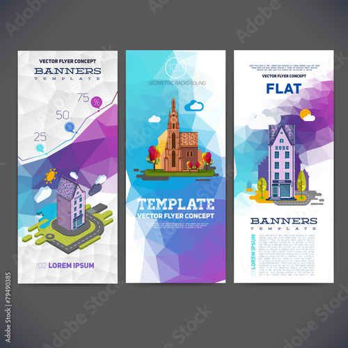 Vector flyer concept banner with abstract geometric background