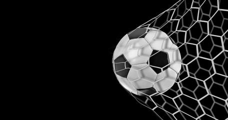 Soccer goal on black background