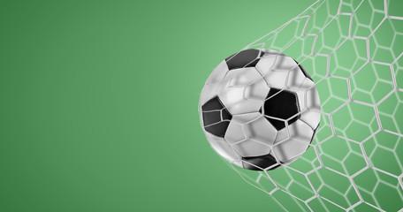Soccer goal on green background