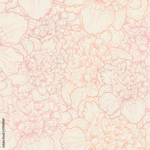 Seamless pattern of peonies - 79491169