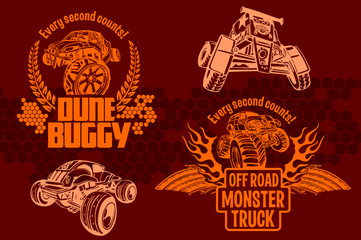 Dune buggy and monster truck - vector badge