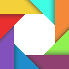Colored aperture of camera, geometric shapes background