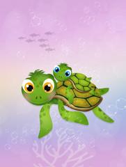 little sea turtle in the ocean